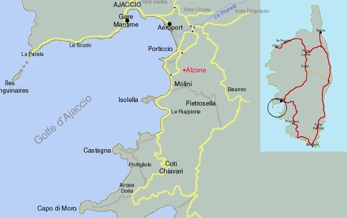La baie d'Ajaccio carte générale