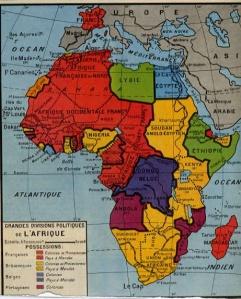 Carte de l'Afrique et des différents empires coloniaux