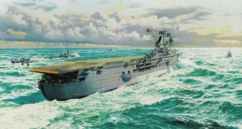 Représentation du porte-avions Graf Zeppelin à la mer