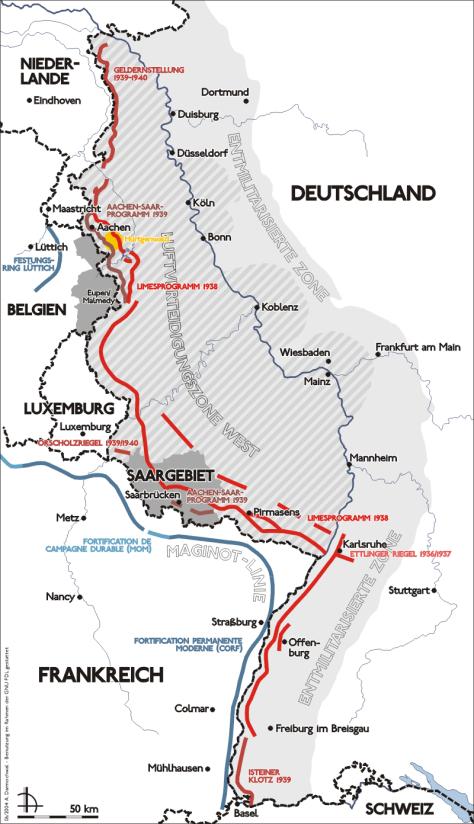 Carte du Westwall appelée Ligne Siegfried par les alliés