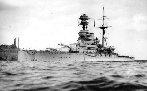 Le HMS Ramillies à Malte en 1939